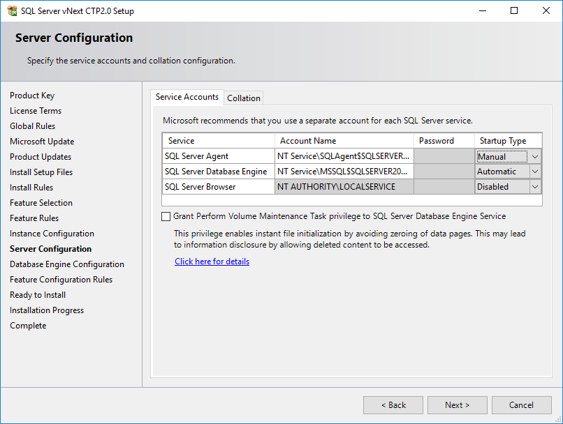 SQL Server service accounts configuration