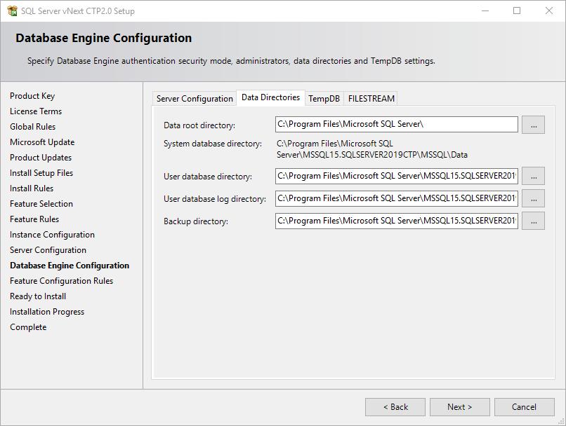 data directories for SQL Server 2019 instance