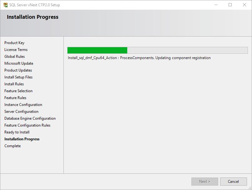 SQL Server setup progress