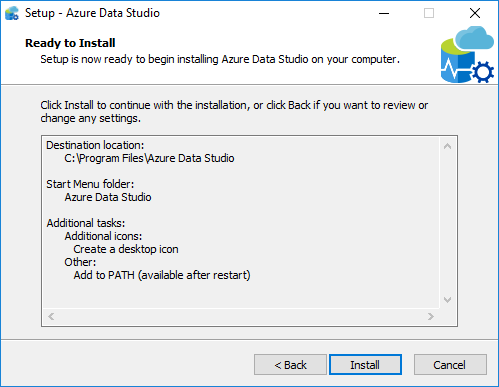start installing Azure Data Studio