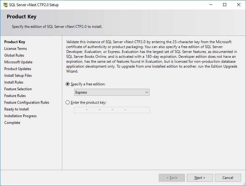SQL Server 2019 Express Edition setup