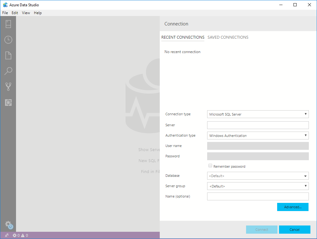 register a new SQL Server instance in Azure Data Studio