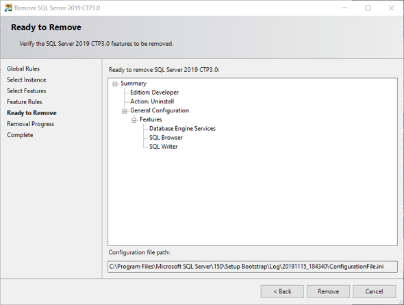 review before removing SQL Server 2019 CTP