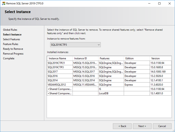 choose SQL Server 2019 instance to uninstall