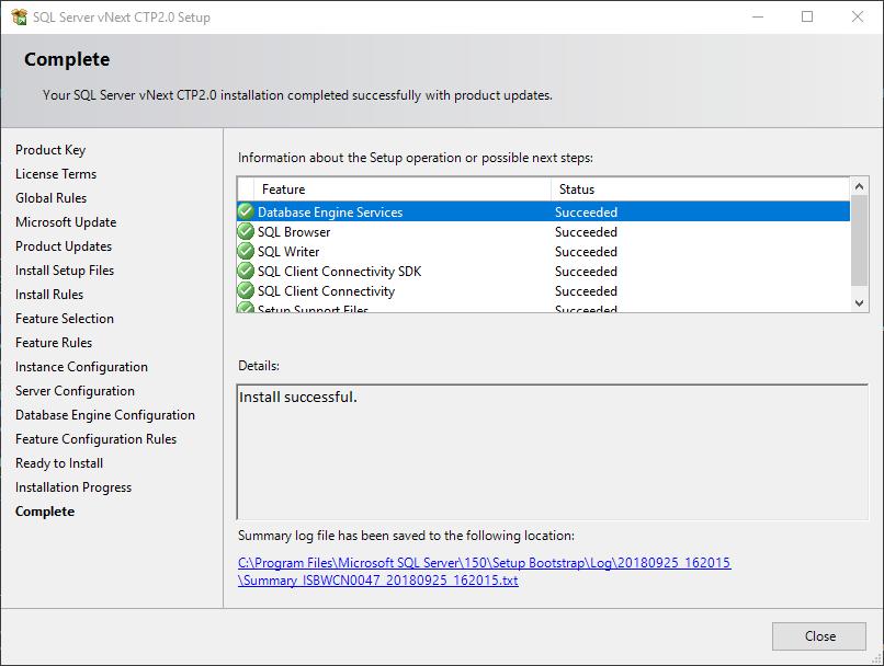 SQL Server 2019 installation