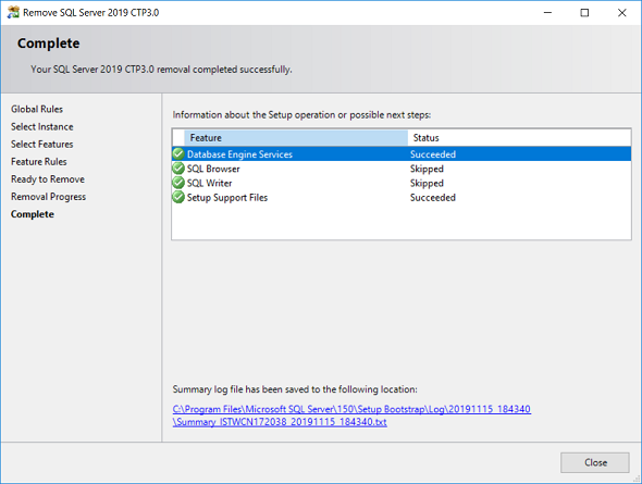 SQL Server 2019 CTP3.0 removal completed