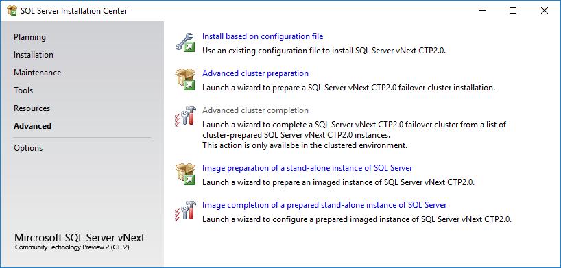 advanced SQL Server 2019 installation options