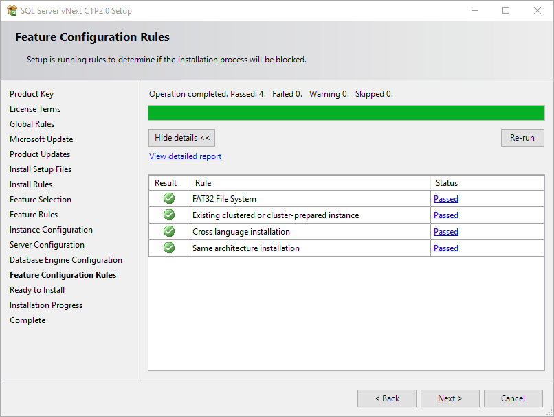 selected SQL Server features installation rules check