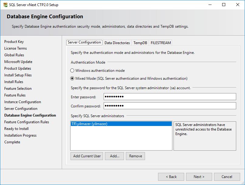 SQL Server Authentication Mode configuration