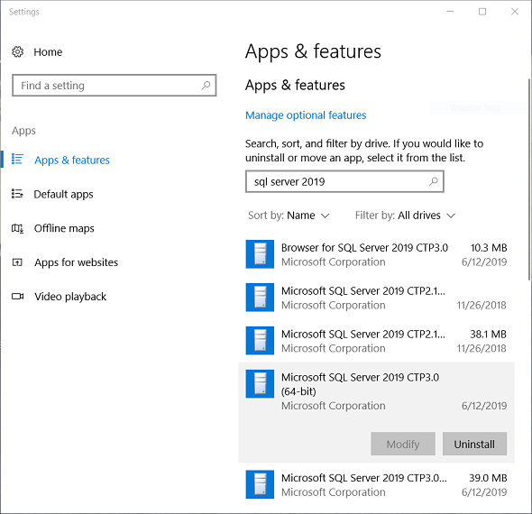apps and features application on Windows to uninstall SQL Server 2019