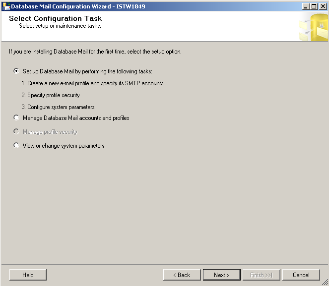 select-sql-server-database-mail-configuration-task