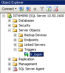 SQL Server logon trigger in server objects triggers node