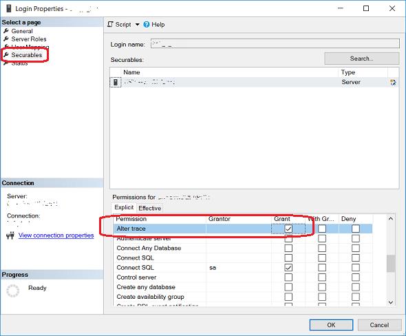 grant Alter trace permission using SQL Server Management Studio