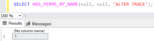 SQL code to check if required permission is granted