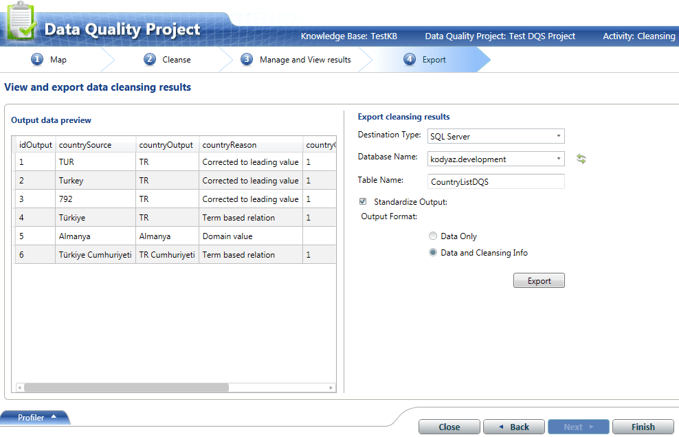 create Data Quality Project for data cleansing