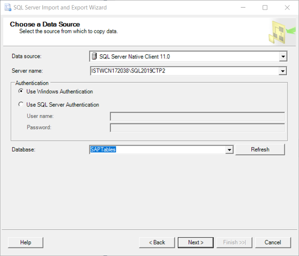 choose data source for SQL Server Data Export task