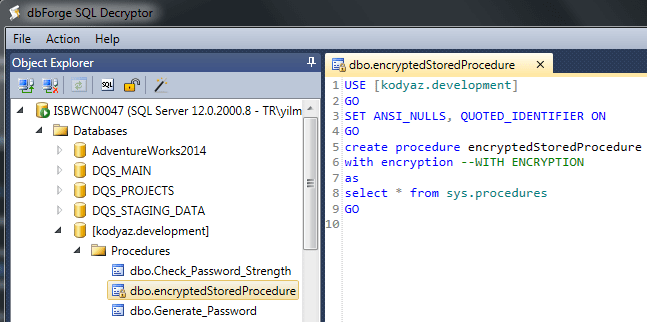 decrypt SQL Server stored procedure