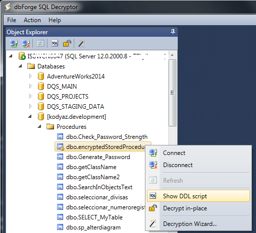 free SQL Server tool for decryption of database objects