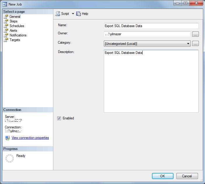 define SQL job properties on SQL Server Management Studio