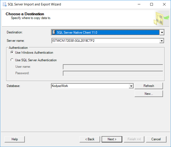 destination for SQL Server Data Export Task