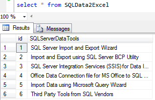 Import SQL Server data to Excel