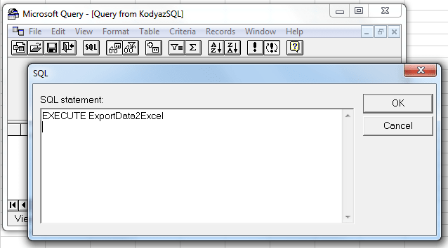 execute SQL statement on Microsoft Query