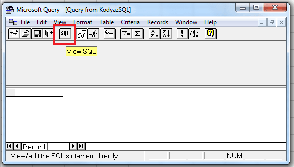 switch to Microsot Query SQL editor on Excel