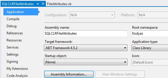 CLR project assembly and root namespace name in Visual Studio