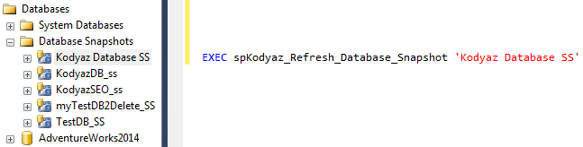 refresh database snapshot using SQL Server stored procedure