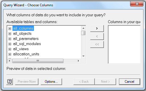 Query Wizard for Excel import from SQL Server