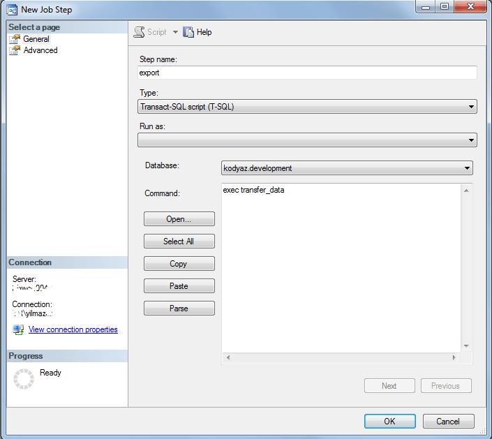 Transact-SQL script to execute task in SQLServer Job step