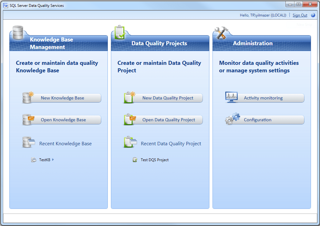 SQL Server Data Quality Service Client tool