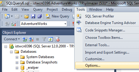 customize SQL Server Management Studio options