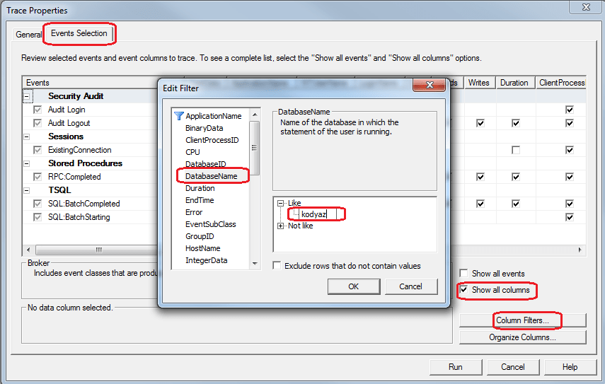 SQL Server Profiler configuration