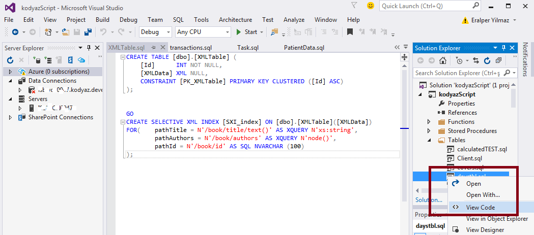 SQL Server database object script code in Visual Studio