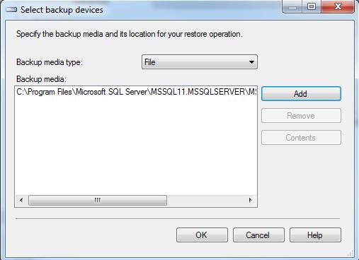 SQL Server 2012 database backup file