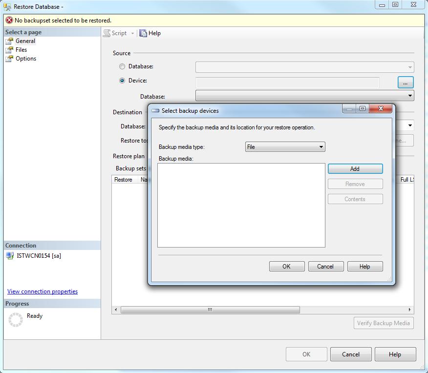 choose backup media and database backup file location
