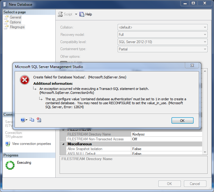 create contained database error on SQL Server 2012