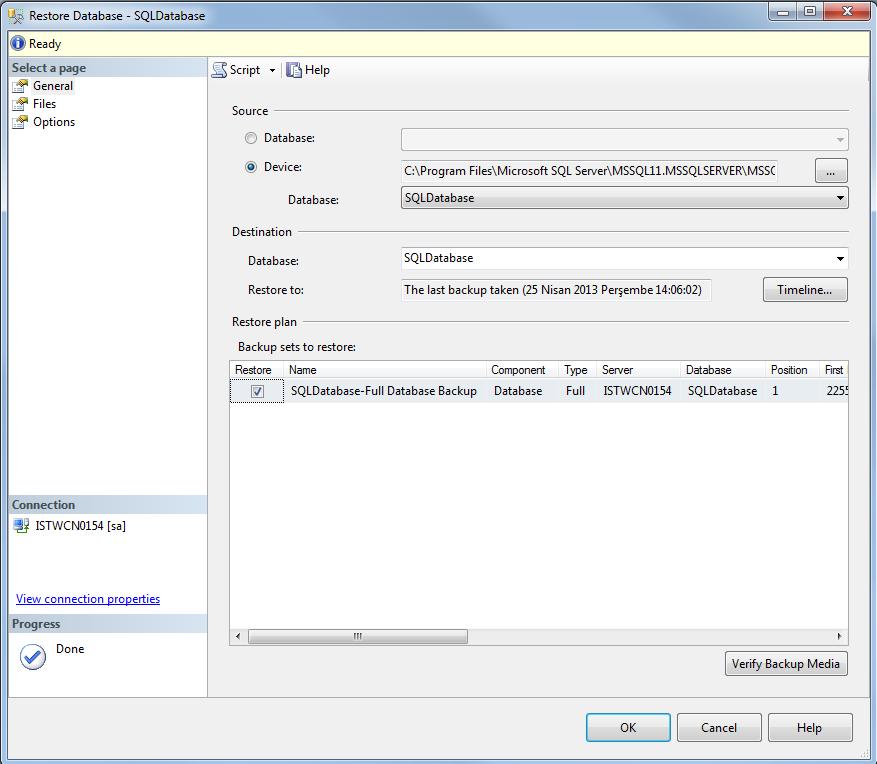 restore SQL Server database from backup file on new SQL Server 2012 instance