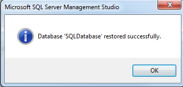 SQL Server database restore from backup file completed successfully