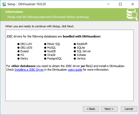 database JDBC drivers included in DbVisualizer database management tool
