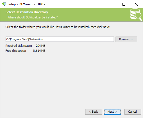 select DbVisualizer installation folder