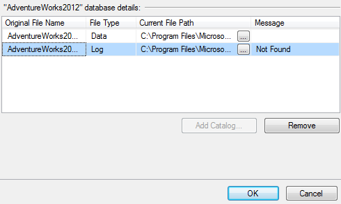 remove missing log file for database attachment task