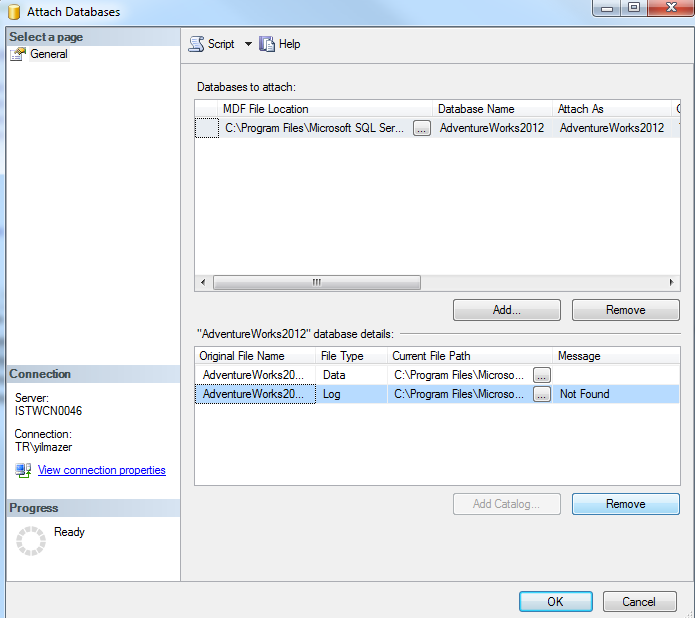 attach SQL Server database data file without log file