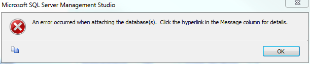 An error occurred when attaching the database