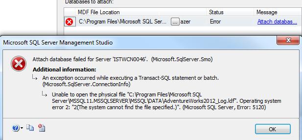 attach database data file to SQL Server error details