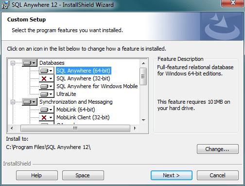 custom setup option for SQL Anywhere database installation