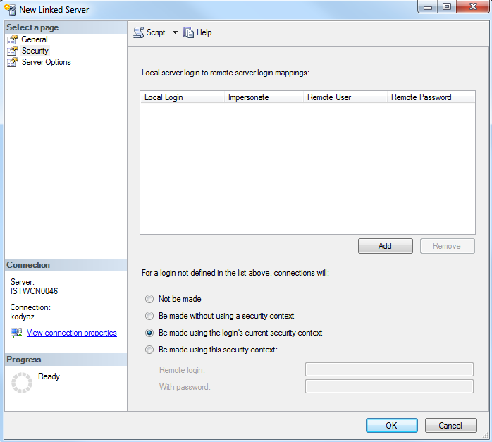 linked server security context on SQL Server 2012