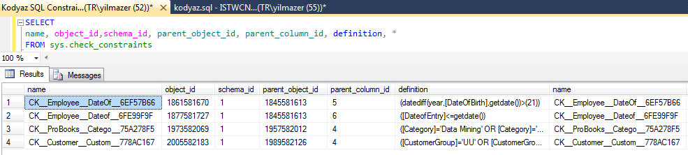 SQL Server check constraints system view sys.check_constraints