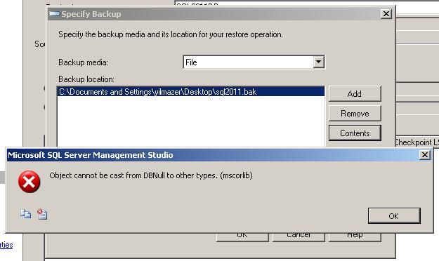 SQL Server database backup file contents